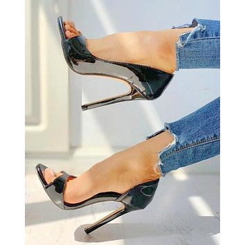 New summer 2020 Black ultra-heeled round head sexy sandals with black fish mouth shoes