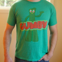 25% Sale 80's Gumby Graphic Tee. Green Cartoon T-shirt. Cultural Icon. Unisex. Men's Large. Women's XL