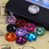 10 For Apple iPod Touch iPhone 3GS 4 4S 5G Bling Rhinestone Home Button Stickers