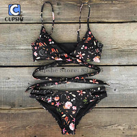 Cupshe Women Floral Printing Cross Bikini Set Women Summer Sexy Swimsuit Ladies Beach Bathing Suit swimwear