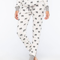 Cosmic Love Bear Womens Thermal Pants White Combo  In Sizes