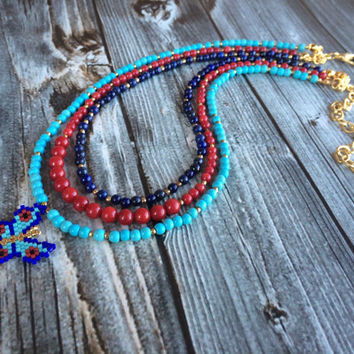 Turquoise Necklace, Coral Necklace, Lapis Necklace, Multi Strand Necklace, Butterfly Necklace, Art Deco Necklace, Gemstone Necklace