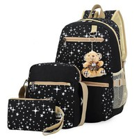 Boys Backpack Bag Fashion women bag 3 pcs/set  New Female tide Canvas  with large capacity school Bags students mochila AT_61_4