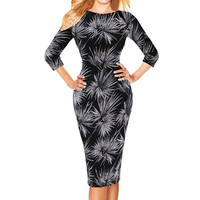 Womens Spring Elegant Leaf Print Retro Slim Wear to Work Office Party Business Casual Sheath Fitted Pencil Dress
