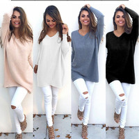 Pure color Leisure blouse sweater