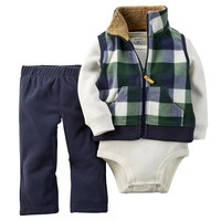 Carter's Buffalo Check Full-Zip Cardigan Set - Baby Boy, Size: