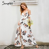 Simplee Floral print ruffles chiffon long dress Women strap v neck split beach summer dress Sexy backless maxi dresses vestidos