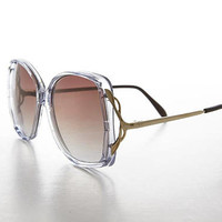 Big Ladies Tinted Gradient Lens Oversized 80s Vintage Sunglass with Gold Temples - Goldie
