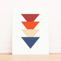 Triangle Red Blue and Orange Art PRINTABLE Art Dorm Decor Typography Poster Home Decor Office Decor Apartment Poster