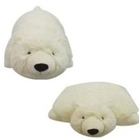 "SMALL POLAR BEAR PET CUSHION ANIMAL PILLOW, ""PLUSH & PLUSH"" BRAND, 11"""