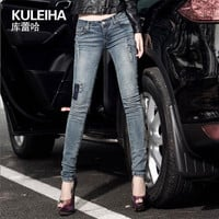 2016 woman pencil jeans womens skinny pants ladies vintage jeggings femme ripped trouser female distressed low waist bottoms