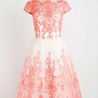 Vintage Inspired Long Cap Sleeves Ballerina Exquisite Elegance Dress in Coral by Chi Chi London from ModCloth