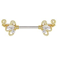 Gold Plated Exotic Butterfly WildKlass Nipple Bar