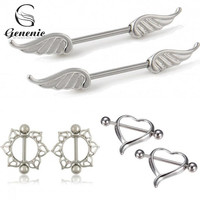 1Pair Fashion Sexy Women Surgical Steel Heart/Wing/ Flower Body Nipple Bar Barbell Party Vacation Piercing Shield Ring 2016 Hot