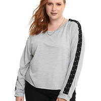Grey Lace-Up Long-Sleeve Girls Top Plus Size