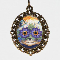 Trippy Cat Necklace, Louis Wain, Flower Cat, Psychedelic, Cat Jewelry, Oval Pendant