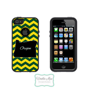 Otterbox Commuter Apple iPhone 5 5s Personalized Cell Phone Hard Case Oregon Green Yellow State Football Chevron Tailgate Ducks OB-1028