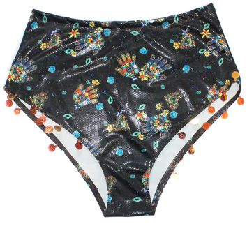 Evil Eye Protection Sequined High Waist Shorts