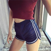 All-match Casual Fashion Female Smooth Surface White Side Multicolor Loose Tight Waist Yoga Pack-hip Sweatpants Shorts