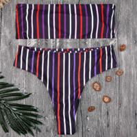 Multicolor Vertical Striped Tube Top Bikini Body Swimsuit F0369-1