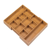 Expandable Bamboo Kitchen Drawer Storage Organizer