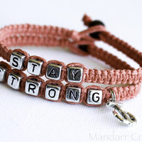 Coral Stay Strong Hemp Bracelets, Silver Tone Anchor Charm, Nautical Recovery Jewelry for Mental Health Awareness