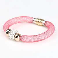 Hot Pink Lattice Detail Stone And Crystal Beaded Bracelet