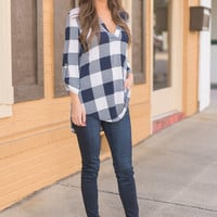 Party In Plaid Top, Navy
