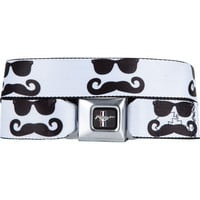 Buckle-Down Mustang Sunglass Mustache Buckle Belt White/Black One Size For Men 20244716801