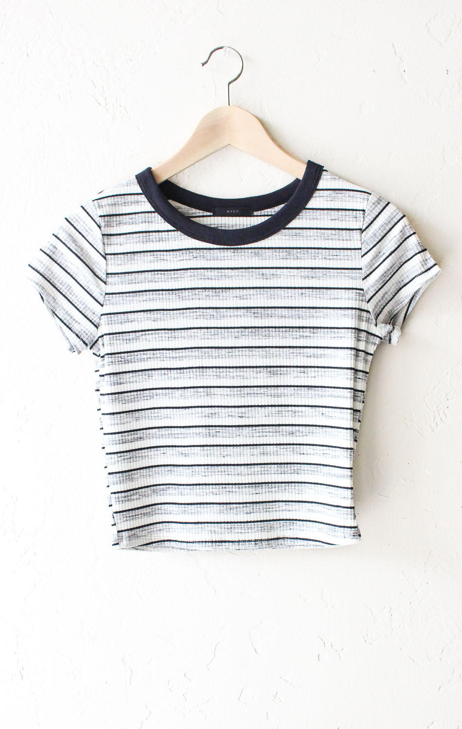 Image of Striped Crop Top - Black/White