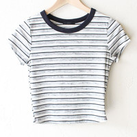 Striped Crop Top - Black/White