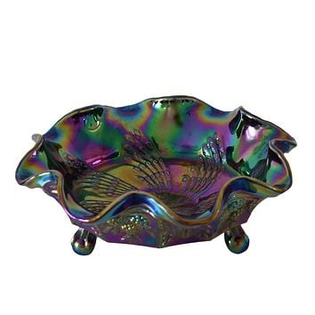 Fenton Carnival Glass Butterfly and Berry Fantail Ruffled Footed Bowl SUPERB Peacock Colors