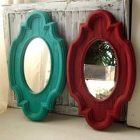 Red and Aqua Vintage Mirrors, Retro Light Weight Plastic Teal and Deep Red Distressed Mirrors, Pair of Mirrors, Retro Home Decor