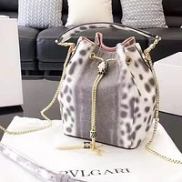 Bulgari Women's fashion versatile shoulder slung handbag bucket bag