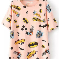 Cartoon Character Print Pink T-shirt
