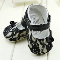 Toddler Girls Knitted Lace Crib Shoes Party Flower Baby Shoes Prewalker 0-18M