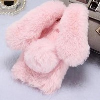 Rhinestone Rabbit ear fur phone case for iPhone 6 6s 7 8 plus X XS max XR fro Samsung galaxy s6 s7 edge s8 s9 plus note 5 8 9