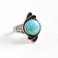 Sale - Vintage Sterling Silver Turquoise Ring- Size 7 Retro Hallmarked Bell Trading Co Southwestern Native American Style Jewelry