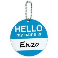 Enzo Hello My Name Is Round ID Card Luggage Tag