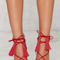 Lipstik Shoes Kazzy Microsuede Heel - Red