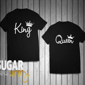 King and Queen shirts, queen king matching couple shirts, couple shirts, st valentine gift, matching shirts for couples, roi et reine shirts