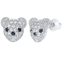 Rhodium Plated Clear Crystal Bear Screw Back Kids Toddler Girls Earrings 8mm