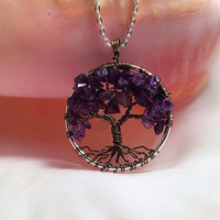 Tree Of Life Necklace Amethysth Pendant Silver Chain Brown Wire Wrapped Tree Semi Precious Gemstone Jewelry February Birthstone Jewelry