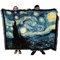Van Gogh Starry Night Tapestry Throw Blanket with Fringe 72 x 54