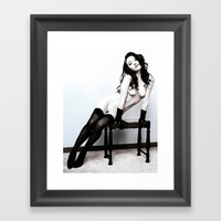 Glamour, slim and sexy girl in lingerie, erotic nude, kinky girl posing, hot woman naked Framed Art Print by Peter Reiss