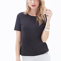 LOVE 21 Faux Leather-Trimmed Top