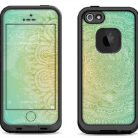 Flourish Green Glow Print - Lifeproof iPhone 6 Fre, LifeProof iPhone 5 5S 5C Fre Nuud, Lifeproof iPhone 4 4S Fre Case Decal Skin Cover