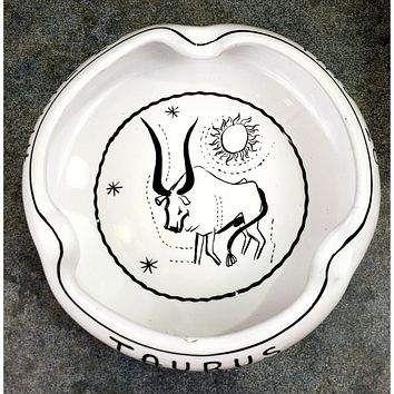 Taurus Ashtray Ram April 20 May 20 PV Italy  Ceramic Curved Lip 3 Slots 07716