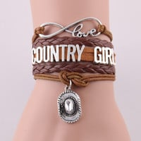 infinity love country girl bracelet cowboy hat charm rope leather wrap bracelets & bangles for women men jewelry drop shipping