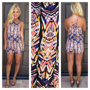 Life In The Fab Lane Printed Romper - PINK & BLUE